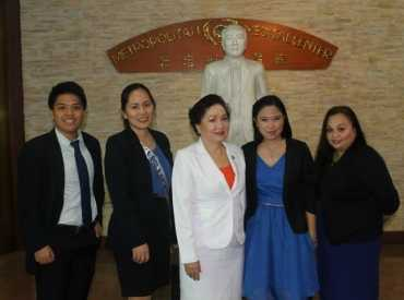 Hon. Leah S. Paquiz with Mr. Iquin the BSN 4A Class President, Ms. Amparo T. Miguel and Aleli R. Cheng